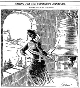 """""""Waiting for the Governor's signature"""" Cartoon of Woman and Bell"""