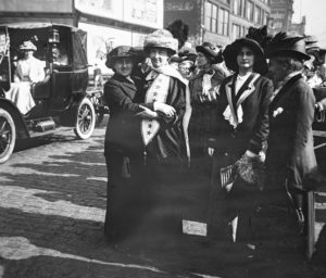 Grace Wilbur Trout and Illinois Equal Suffrage Association President in Streets of Chicago