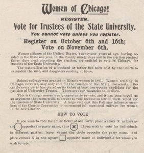 """Broadside, """"Women of Chicago, Register"""""""