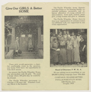 Phyllis Wheatley Home Association pamphlet. Includes 2 images: 1) two African American women in front of the Phyllis Wheatley Home; and 2) a group of African American women