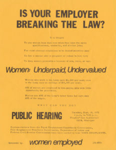Flyer encouraged women to voice complaints about workplace injustices